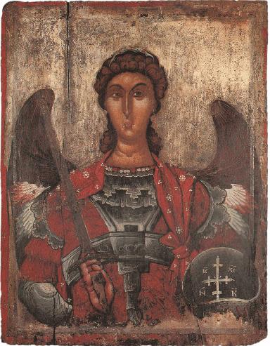 Arcangelo Michele, 1300 circa, dalla Chiesa di Santa Maria di Ristozi, Mborje Korce, Museo d'Arte Medievale, Korça