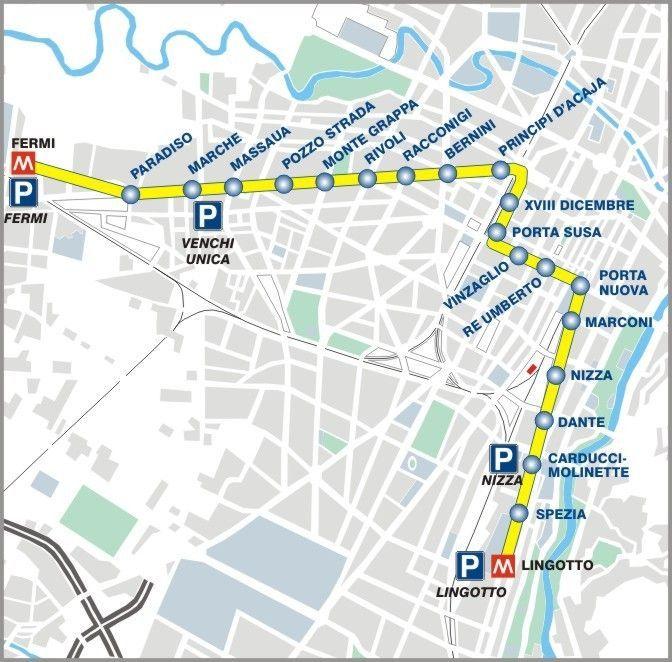 Il percorso della Metropolitana di Torino, linea 1